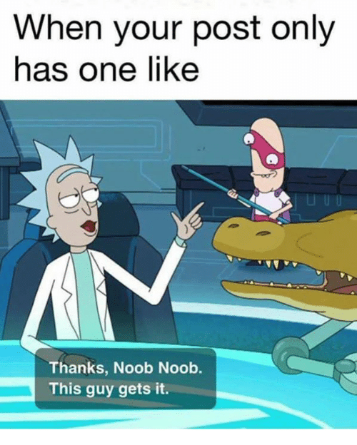 Dank Memes, One, and Post: When your post only  has one like  Thanks, Noob Noob.  This guy gets it.
