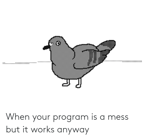 program: When your program is a mess but it works anyway