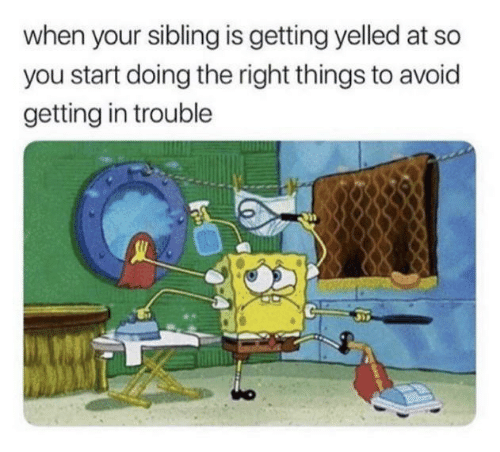 Yelled: when your sibling is getting yelled at so  you start doing the right things to avoid  getting in trouble