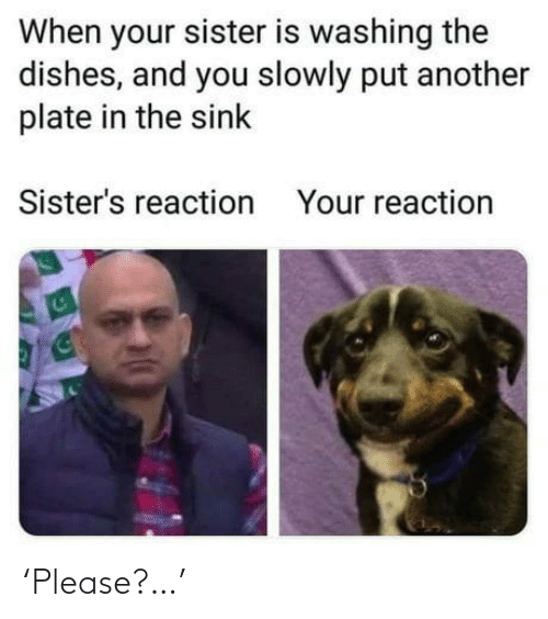 Slowly: When your sister is washing the  dishes, and you slowly put another  plate in the sink  Sister's reaction  Your reaction 'Please?…'