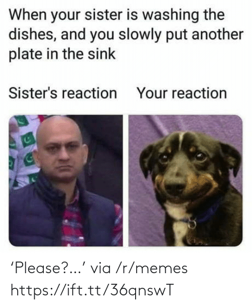 Slowly: When your sister is washing the  dishes, and you slowly put another  plate in the sink  Sister's reaction  Your reaction 'Please?…' via /r/memes https://ift.tt/36qnswT