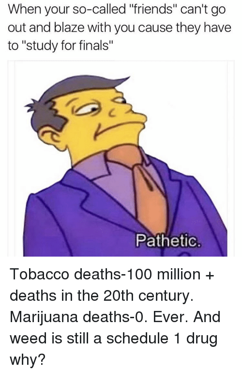 "Patheticness: When your so-called ""friends"" can't go  out and blaze with you cause they have  to ""study for finals""  Pathetic. Tobacco deaths-100 million + deaths in the 20th century. Marijuana deaths-0. Ever. And weed is still a schedule 1 drug why?"