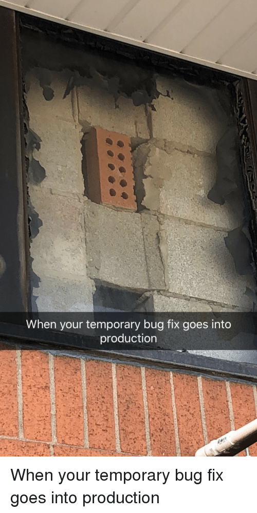 Bug, When, and When Your: When your temporary bug fix goes into  production When your temporary bug fix goes into production