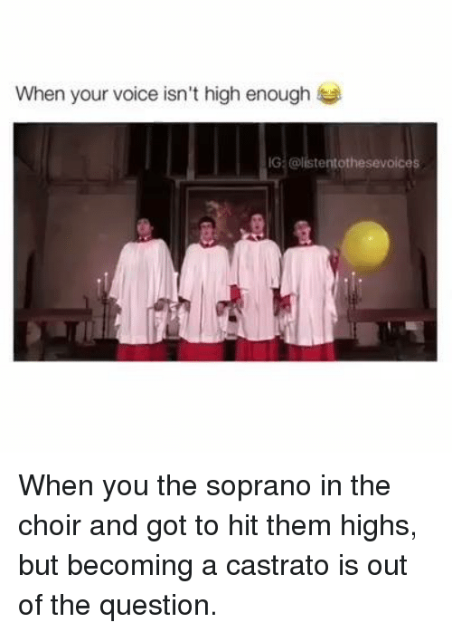 Catholic, Sopranos, and The Sopranos: When your voice isn't high enough  IG tent othesevoices When you the soprano in the choir and got to hit them highs, but becoming a castrato is out of the question.
