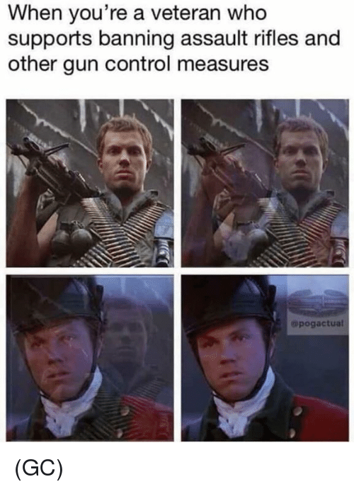Memes, Control, and 🤖: When you're a veteran who  supports banning assault rifles and  other gun control measures  opogactual (GC)