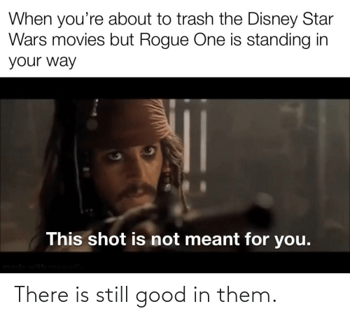 One Is: When you're about to trash the Disney Star  Wars movies but Rogue One is standing in  your way  This shot is not meant for you.  made with mematic There is still good in them.