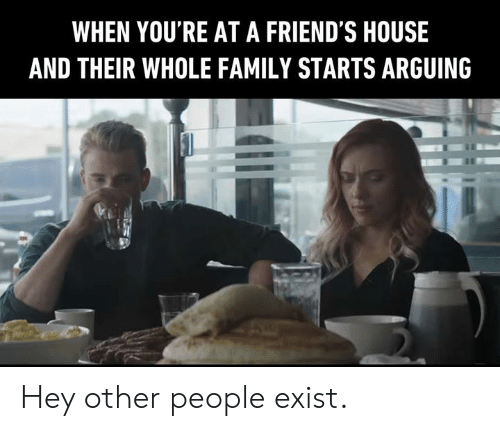 Dank, Family, and Friends: WHEN YOU'RE AT A FRIEND'S HOUSE  AND THEIR WHOLE FAMILY STARTS ARGUING Hey other people exist.