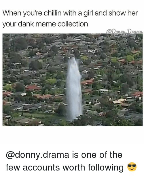 meme collection: When you're chillin with a girl and show her  your dank meme collection  annul Drama @donny.drama is one of the few accounts worth following 😎