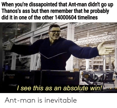 ant: When you're dissapointed that Ant-man didn't go up  Thanos's ass but then remember that he probably  did it in one of the other 14000604 timelines  u/Tsynami  l see this as an absolute win! Ant-man is inevitable