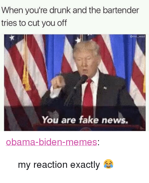 "Obama Biden: When you're drunk and the bartender  tries to cut you off  omo wad  You are fake news. <p><a href=""https://obama-biden-memes.tumblr.com/post/157367603061/my-reaction-exactly"" class=""tumblr_blog"" target=""_blank"">obama-biden-memes</a>:</p><blockquote><p>my reaction exactly 😂</p></blockquote>"