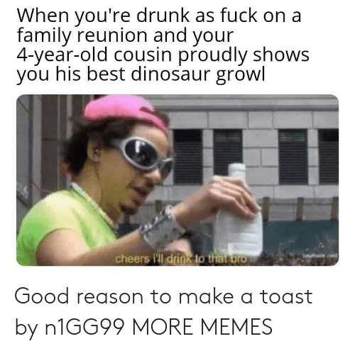 reunion: When you're drunk as fuck on a  family reunion and your  4-year-old cousin proudly shows  you his best dinosaur growl  cheers i'll drink to that bro Good reason to make a toast by n1GG99 MORE MEMES