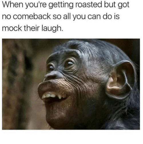 When Youre Getting Roasted: When you're getting roasted but got  no comeback so all you can do is  mock their laugh.