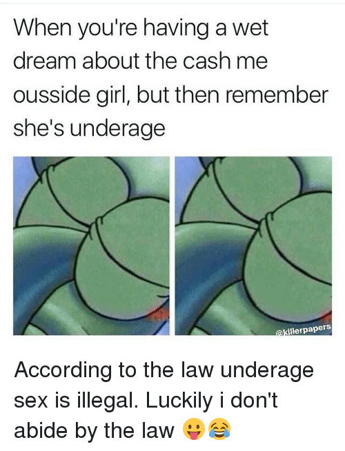 wet dream: When you're having a wet  dream about the cash me  ousside girl, but then remember  she's underage  illerpapers According to the law underage sex is illegal. Luckily i don't abide by the law 😛😂