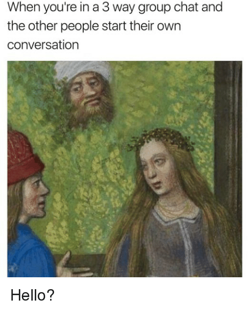 Group Chat, Hello, and Memes: When you're in a 3 way group chat and  the other people start their own  conversation Hello?