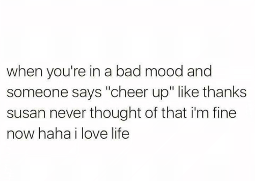 """love life: when you're in a bad mood and  someone says """"cheer up"""" like thanks  susan never thought of that i'm fine  now haha i love life"""