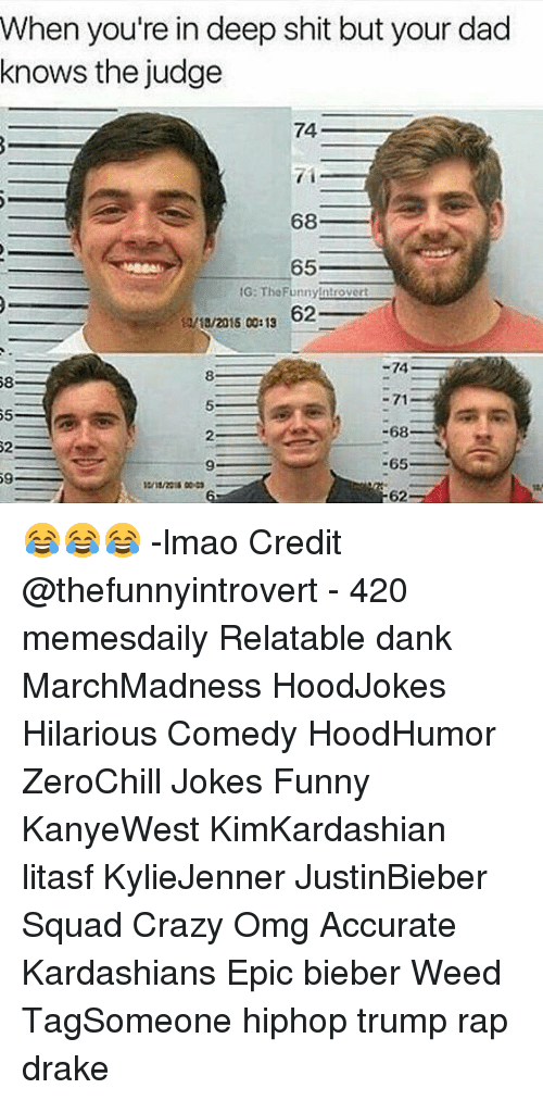 Relatible: When you're in deep shit but your dad  knows the judge  74  71  68 3  A 65  IG: The Funny!ntrover  62  i!/18/2015 00:13  -74  58  71  -68  65  59  62 😂😂😂 -lmao Credit @thefunnyintrovert - 420 memesdaily Relatable dank MarchMadness HoodJokes Hilarious Comedy HoodHumor ZeroChill Jokes Funny KanyeWest KimKardashian litasf KylieJenner JustinBieber Squad Crazy Omg Accurate Kardashians Epic bieber Weed TagSomeone hiphop trump rap drake