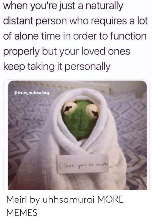 Being Alone, Dank, and Love: when you're just a naturally  distant person who requires a lot  of alone time in order to function  properly but your loved ones  keep taking it personally  @trueyouhealing  L Love  so much Meirl by uhhsamurai MORE MEMES