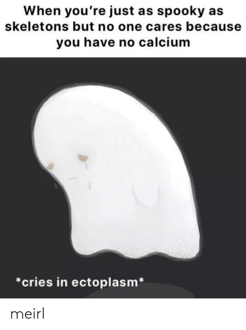 no one cares: When you're just as spooky  skeletons but no one cares because  you have no calcium  *cries in ectoplasm* meirl