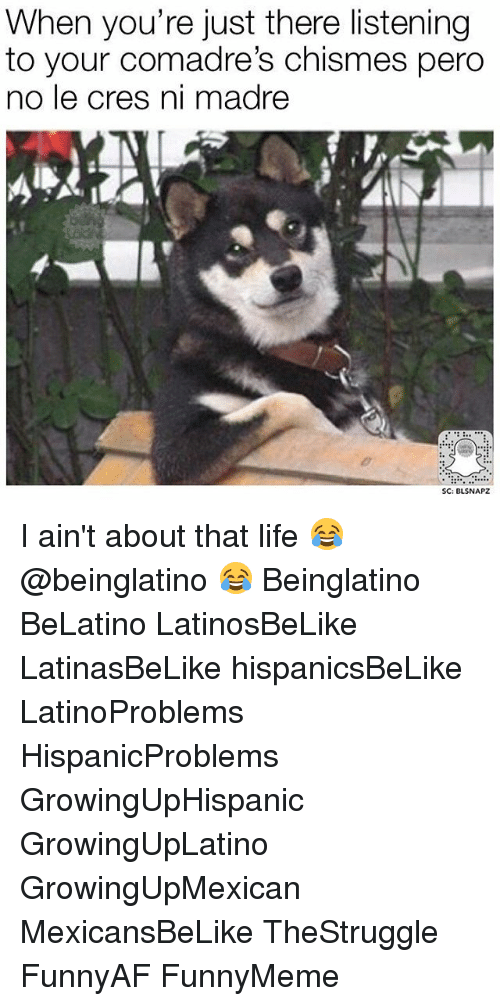 About That Life: When you're just there listening  to your comadre's chismes pero  no le cres ni madre  SC: BLSNAPZ I ain't about that life 😂 @beinglatino 😂 Beinglatino BeLatino LatinosBeLike LatinasBeLike hispanicsBeLike LatinoProblems HispanicProblems GrowingUpHispanic GrowingUpLatino GrowingUpMexican MexicansBeLike TheStruggle FunnyAF FunnyMeme