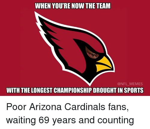 Arizona Cardinals: WHEN YOU'RE NOW THE TEAM  @NFL MEMES  WITH THE LONGEST CHAMPIONSHIP DROUGHTIN SPORTS Poor Arizona Cardinals fans, waiting 69 years and counting
