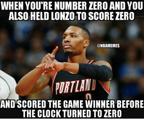 Game Winner: WHEN YOU'RE NUMBER ZERO AND YOU  ALSO HELD LONZO TO SCORE ZERO  ONBAMEMES  PURTIANI  AND SCORED THE GAME WINNER BEFORE  THE CLOCKTURNED TO ZERO