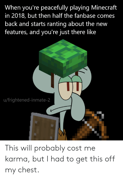 Minecraft, Karma, and Back: When you're peacefully playing Minecraft  in 2018, but then half the fanbase comes  back and starts ranting about the new  features, and you're just there like  u/frightened-inmate-2 This will probably cost me karma, but I had to get this off my chest.