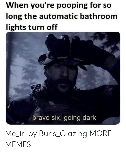 Dank, Memes, and Target: When you're pooping for so  long the automatic bathroom  lights turn off  bravo six, going dark Me_irl by Buns_Glazing MORE MEMES