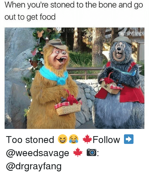 Bones, Food, and Memes: When you're stoned to the bone and go  out to get food Too stoned 😆😂 🍁Follow ➡ @weedsavage 🍁 📷: @drgrayfang