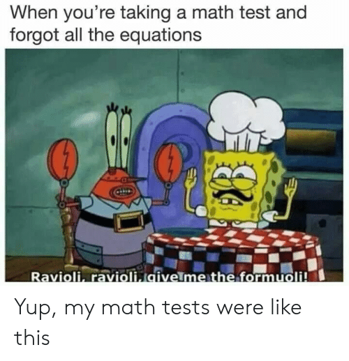 Equations: When you're taking a math test and  forgot all the equations  Ravioli, ravioli givelme the formuoli! Yup, my math tests were like this