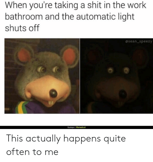 Shit, Work, and Quite: When you're taking a shit in the work  bathroom and the automatic light  shuts off  sean speezy  Gustapo | Memedroid This actually happens quite often to me