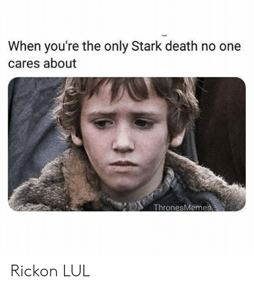 Memes, Death, and 🤖: When you're the only Stark death no one  cares about  ThronesMeme Rickon LUL