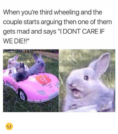 """Wheeling: When you're third wheeling and the  couple starts arguing then one of them  gets mad and says """"I DONT CARE IF  WE DIE!!"""" 😐"""
