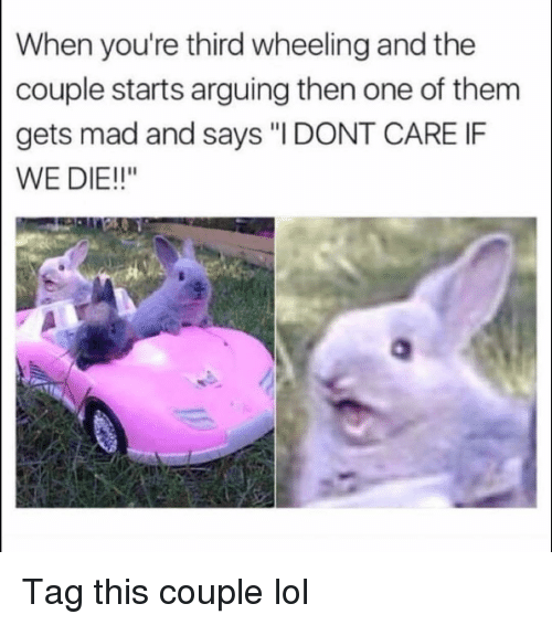 """Wheeling: When you're third wheeling and the  couple starts arguing then one of them  gets mad and says """"IDONT CARE IF  WE DIE!!"""" Tag this couple lol"""
