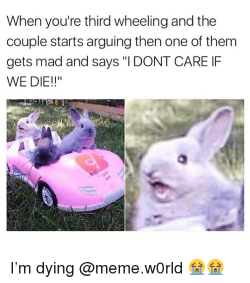 """Wheeling: When you're third wheeling and the  couple starts arguing then one of them  gets mad and says """"I DONT CARE IF  WE DIE!!"""" I'm dying @meme.w0rld 😭😭"""