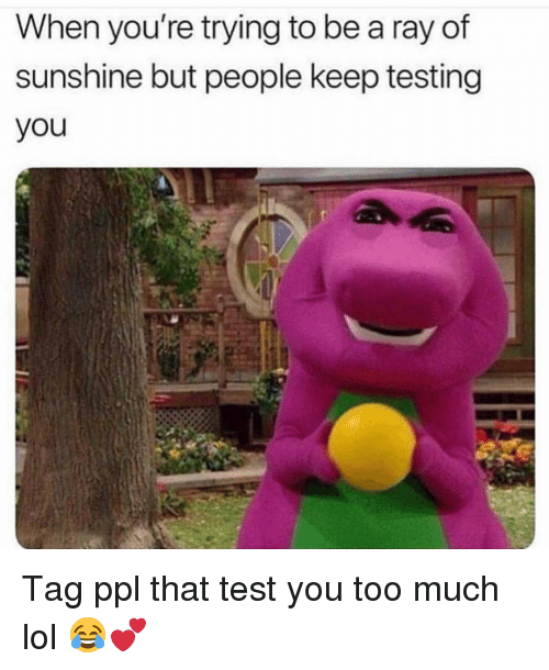 test-you: When you're trying to be a ray of  sunshine but people keep testing  you Tag ppl that test you too much lol 😂💕