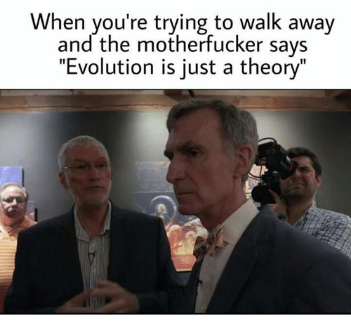 """the motherfucker: When you're trying to walk away  and the motherfucker says  """"Evolution is just a theory"""""""