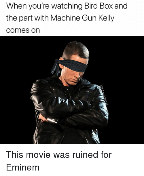Machine Gun: When you're watching Bird Box and  the part with Machine Gun Kelly  comes on This movie was ruined for Eminem
