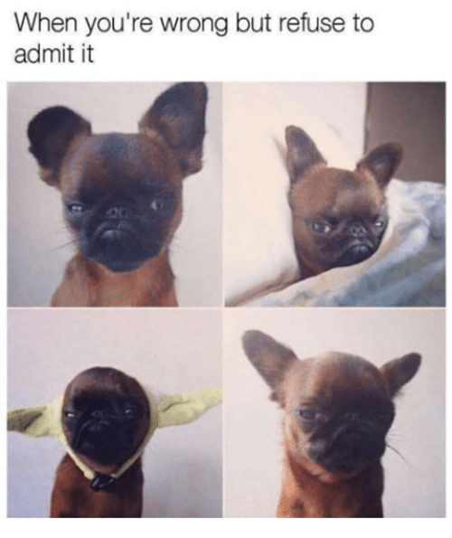 Admittingly: When you're wrong but refuse to  admit it