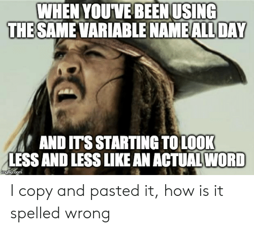 Word, Been, and How: WHEN YOUVE BEEN USING  THE SAME VARIABLE NAME ALL DAY  AND ITS STARTING TOLOOK  LESS AND LESS LIKE AN ACTUAL WORD  imgflip.com I copy and pasted it, how is it spelled wrong