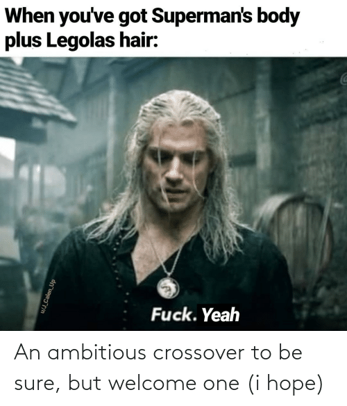 Hair: When you've got Superman's body  plus Legolas hair:  Fuck. Yeah  u/J_Calen_Up An ambitious crossover to be sure, but welcome one (i hope)