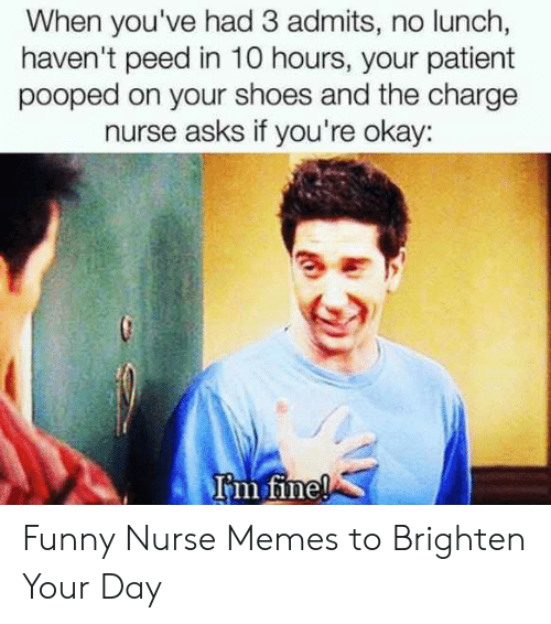 Funny Nurse Memes: When you've had 3 admits, no lunch,  haven't peed in 10 hours, your patient  pooped on your shoes and the charge  nurse asks if you're okay:  rm Tine! Funny Nurse Memes to Brighten Your Day
