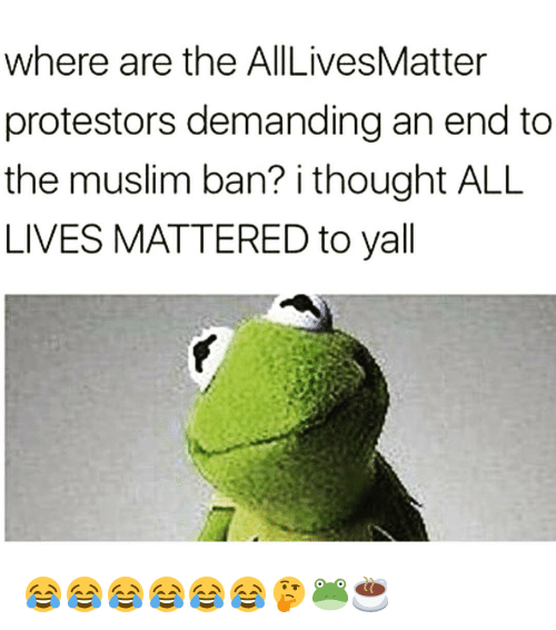 All Lives Matter: where are the AllLivesMatter  protestors demanding an end to  the muslim ban? i thought ALL  LIVES MATTERED to yall 😂😂😂😂😂😂🤔🐸☕