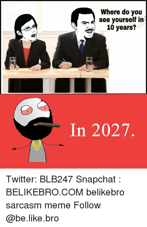 Snapchater: Where do you  see yourself in  10 years?  In 2027 Twitter: BLB247 Snapchat : BELIKEBRO.COM belikebro sarcasm meme Follow @be.like.bro