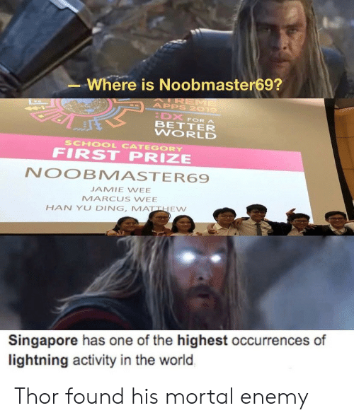 School, Wee, and Apps: Where is Noobmaster69?  AIREME  APPS 2019  DX  BETTER  WORLD  FOR A  SCHOOL CATEGORY  FIRST PRIZE  NOOBMASTER69  JAMIE WEE  MARCUS WEE  HAN YU DING, MATTHEW  Singapore has one of the highest occurrences of  lightning activity in the world Thor found his mortal enemy