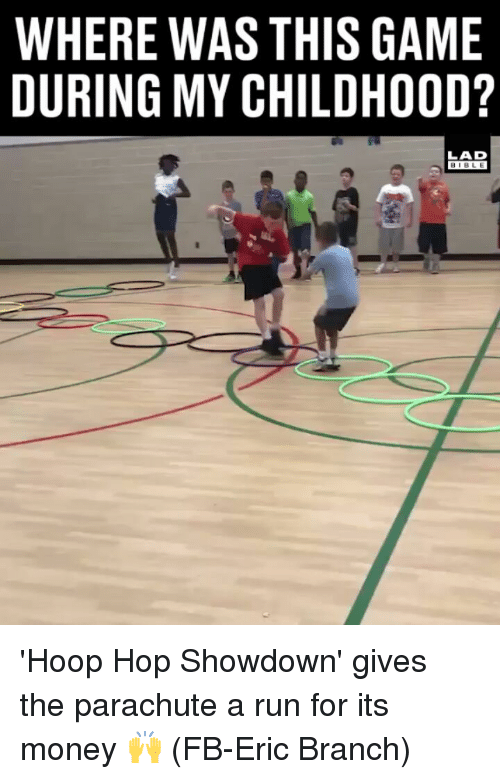 Showdown: WHERE WAS THIS GAME  DURING MY CHILDH00D?  LAD  BIBLE 'Hoop Hop Showdown' gives the parachute a run for its money 🙌 (FB-Eric Branch)