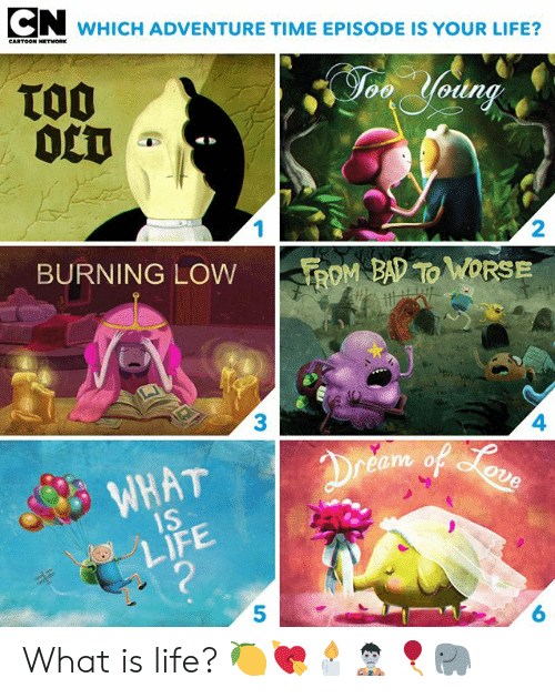 Bad, Cartoon Network, and Dank: WHICH ADVENTURE TIME EPISODE IS YOUR LIFE?  CARTOON NETWORK  TO0  0CT  Jon Yodng  1  2  BURNING LOW  ROM BAD TO WORSE  3  4  Dreem of oun  WHAT  1S  LIFE  ?  6 What is life? 🍋💘🕯🧟♂️🎈🐘