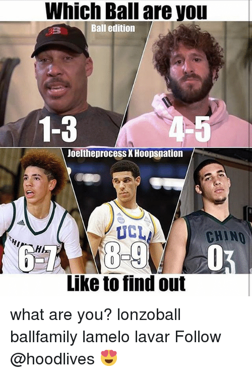 Memes, 🤖, and What Ares: Which Ball are you  Ball edition  1-3  -5  JoeltheproceSs X Hoopsnation  UCL  CHINO  Like to find out what are you? lonzoball ballfamily lamelo lavar Follow @hoodlives 😍