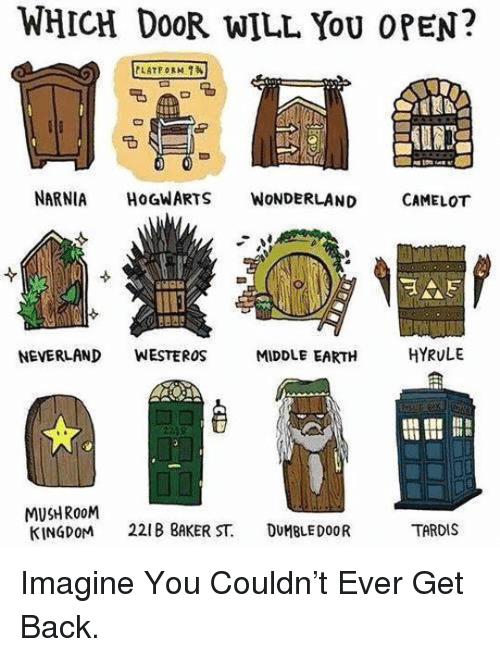 Earth, Tardis, and Back: WHICH Do0R WILL YoU OPEN?  NARNIA HOGWARTS WoNDERLAND CAMELOT  NEVERLAND WESTEROS  MIDDLE EARTH  HYRULE  I i  MUSHRo0M  KINGDOM 221 BAKER ST. DUMBLEDOOR  TARDIS <p>Imagine You Couldn't Ever Get Back.</p>