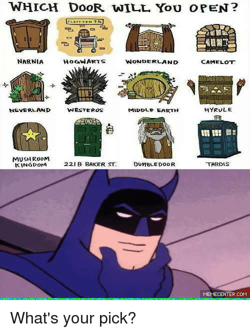 Memes Tardis and ? WHICH DOOR. WILL You o PEN? s  sc 1 st  ESMEMES.COM & WHICH DOOR WILL You O PEN? S WONDERLAND NARNIA CAMELOT HYRULE ...