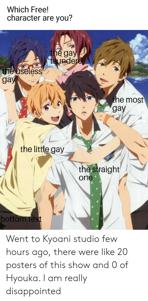 Hyouka: Which Free!  character are you?  the gay  tsundere  the useless  gay  the most  gay  the little gay  the straight  one  bottom text Went to Kyoani studio few hours ago, there were like 20 posters of this show and 0 of Hyouka. I am really disappointed